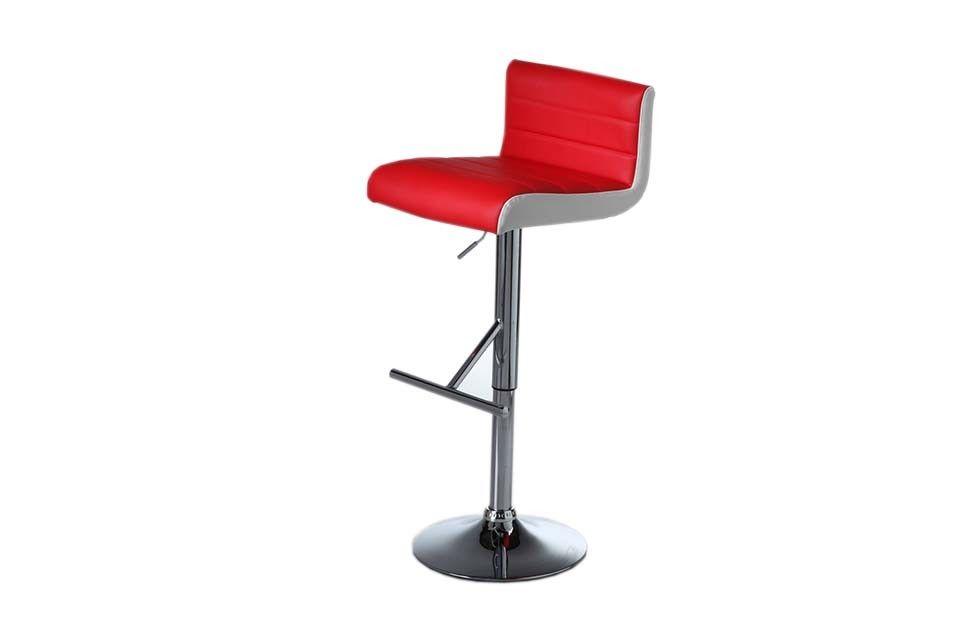 Viva Red Leatherette Chrome Bar Stool Furniture Port
