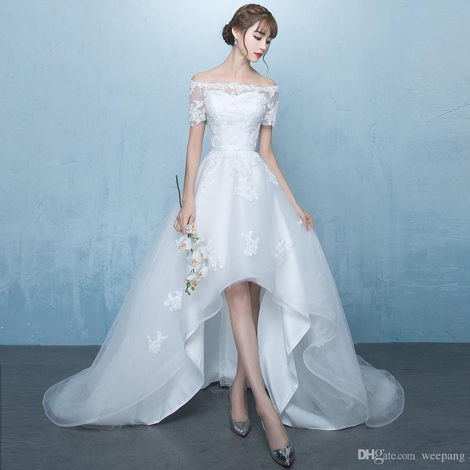 Off the Shoulder Elegant High low Wedding Dresses A Line Short ...