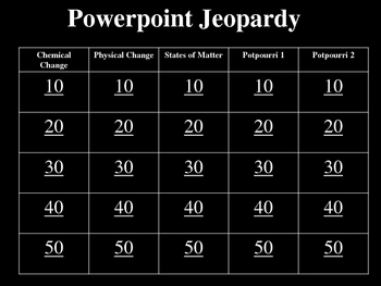 Chemical and physical change jeopardy powerpoint review game chemical and physical change jeopardy powerpoint review game urtaz Gallery
