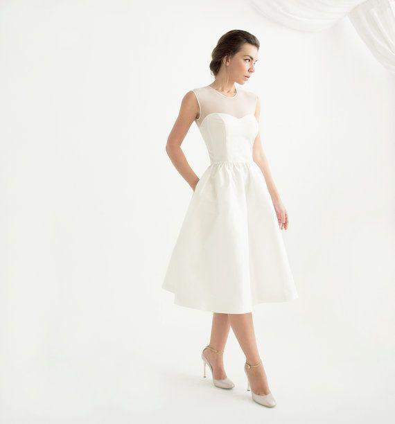 Elfenbein ärmellos Knie Länge Wedding Dress - Marta-Kleid ...