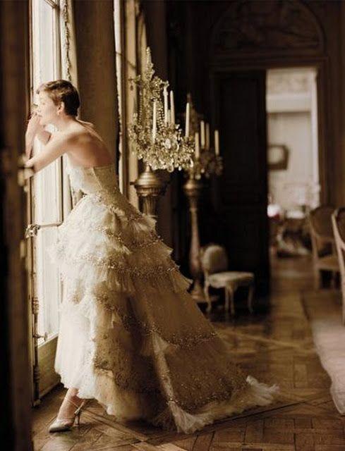 Glam/Vintage -Rhinestones/Pearls- Wedding Gown