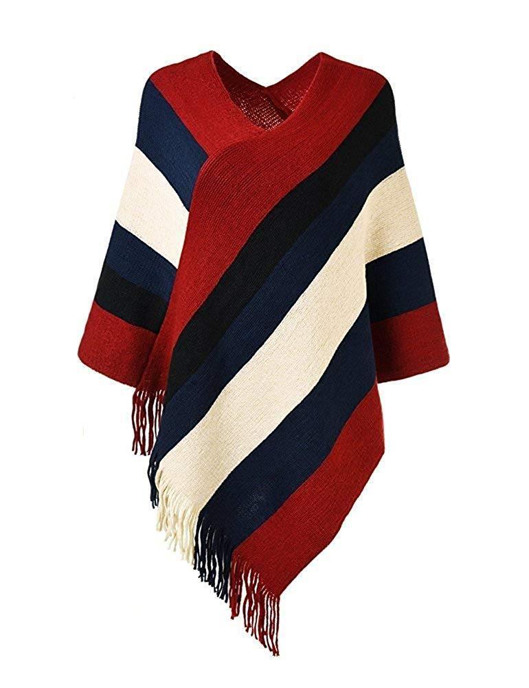 b9e7be7b84e296 Women's Elegant Knitted Sweater Tassels Cloak Poncho Top Stripe Fringe Cape  Shawl