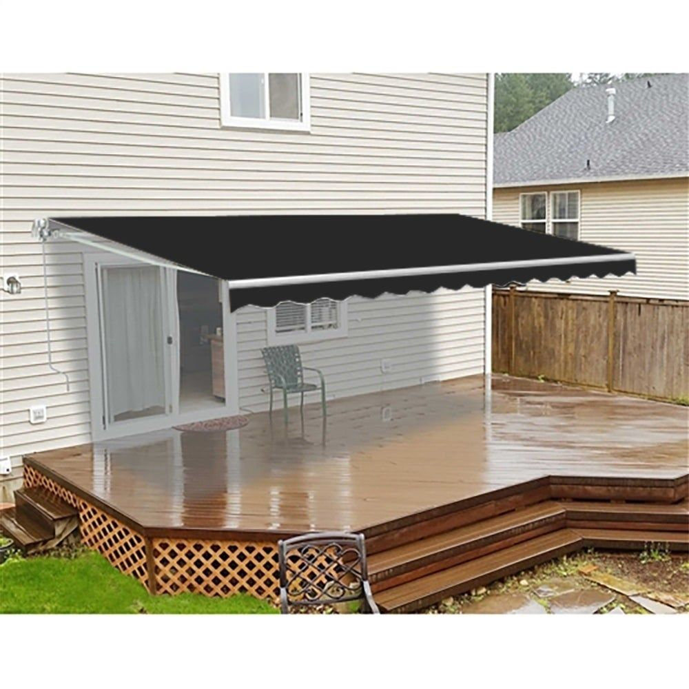 Aleko Retractable Motorized Home Patio Canopy Awning 20x10 Feet Black Metal Patio Canopy Patio Design Patio Awning