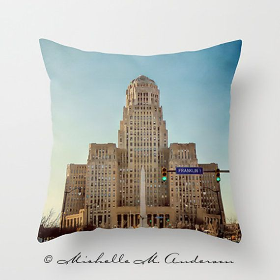 Downtown Buffalo NY Pillow Cover city hall Photo by TheCamerasEye, $35.00