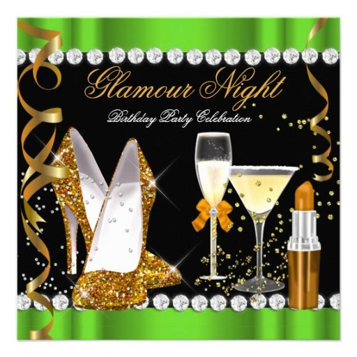 Glitter Glamour Night Lime Green Gold Black Party Custom Announcement