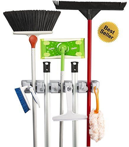 Spoga Mop And Broom Organiser Wall Mounted Storage Organizer For Your Home Closet Garage And Shed Holds Mops And Brooms Broom Holder Garden Tool Storage