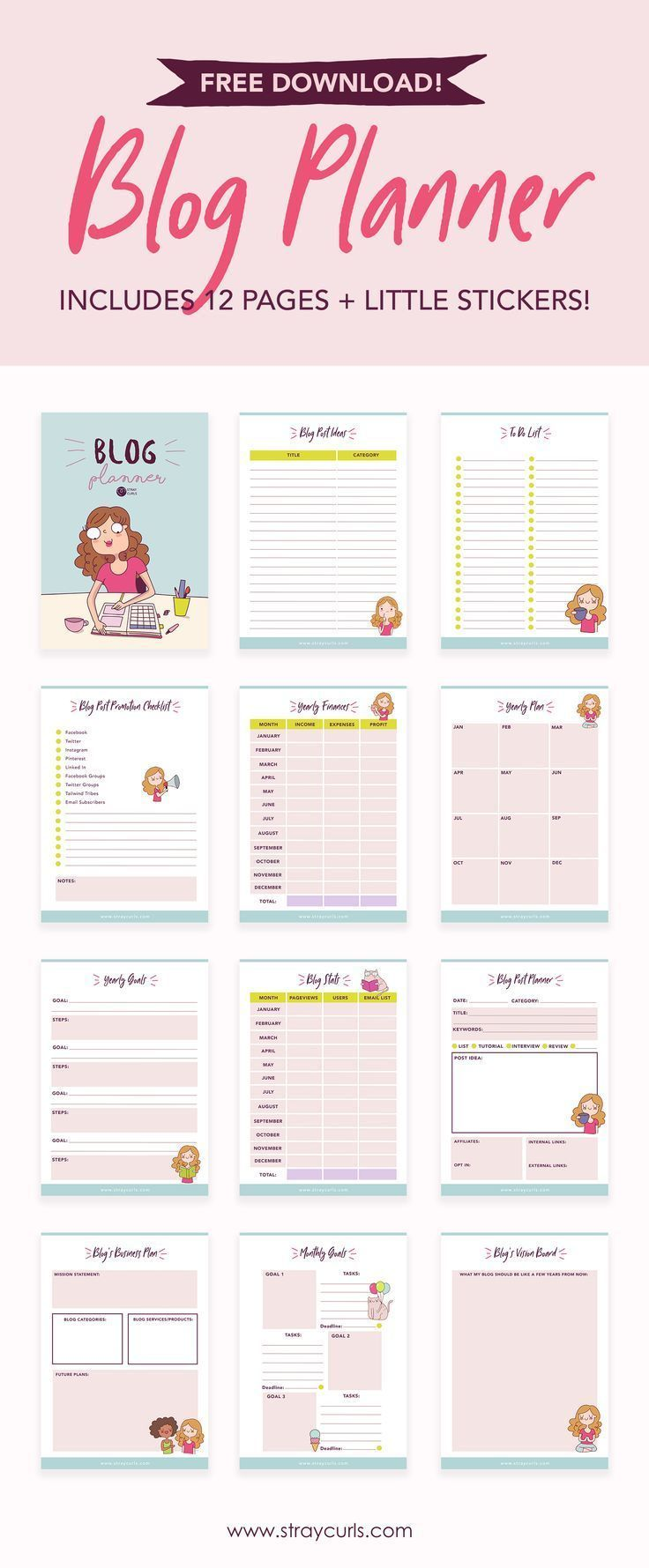Free Download: 12 Page 2020 Blog Planner - Stray Curls