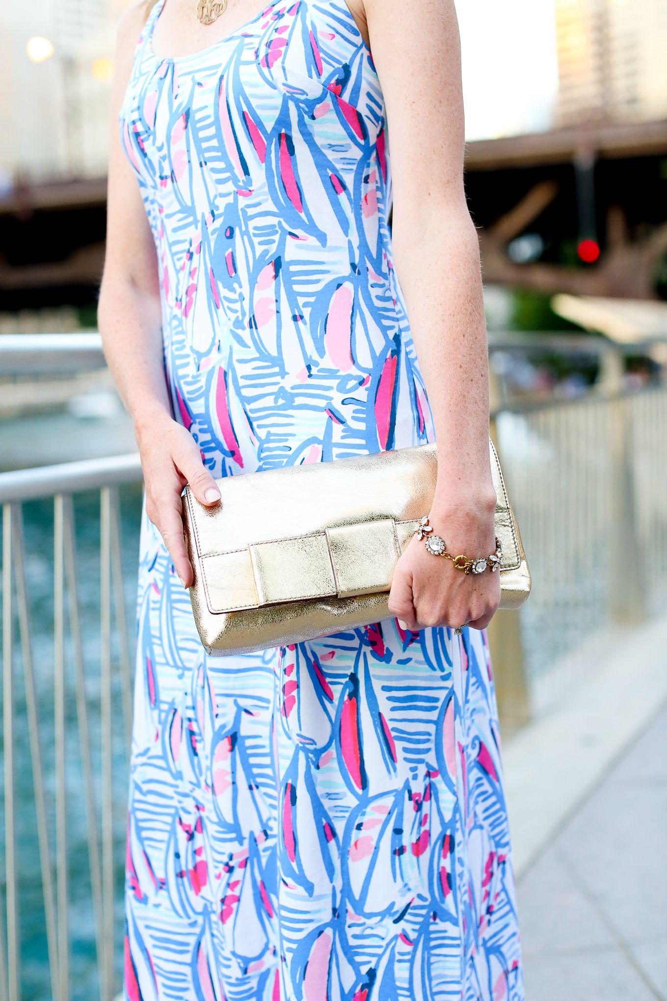 5fa5853324d Lilly Pulitzer Maxi Dress   Bow Clutch