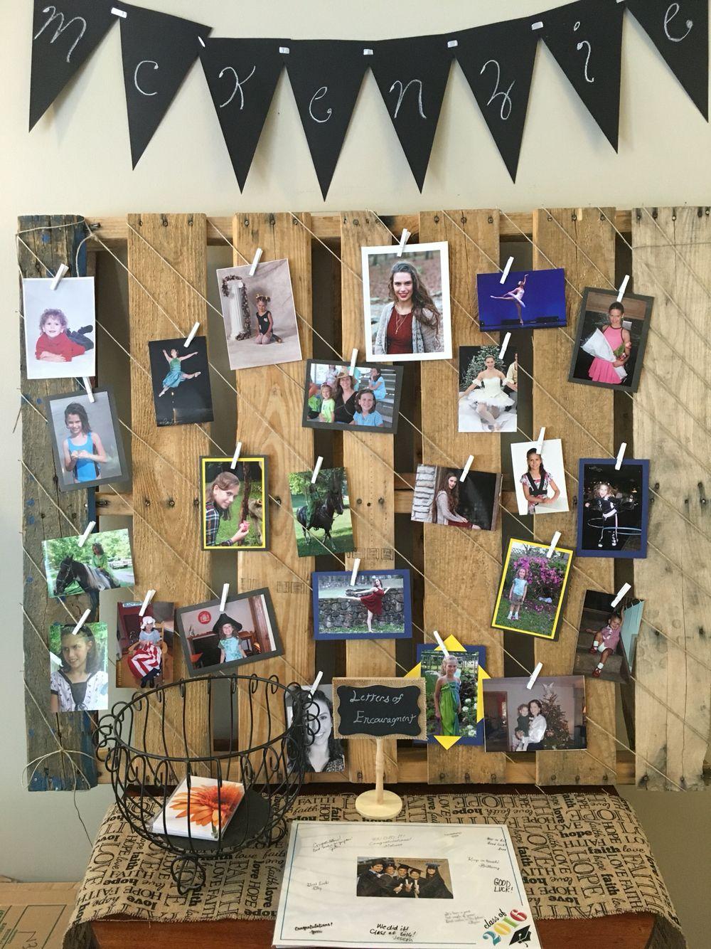 Pallet photo display. | Graduation party decor, Grad ...