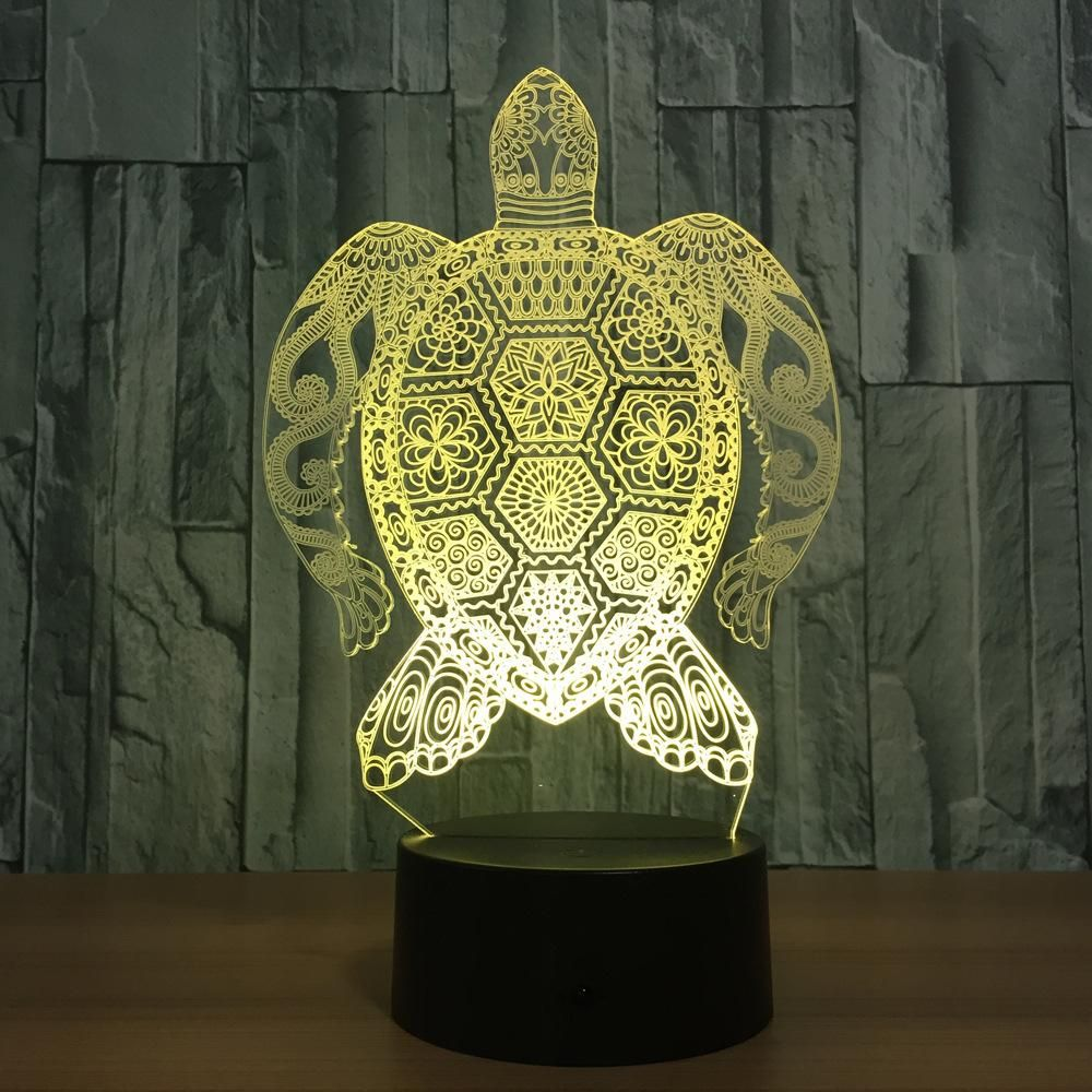 Turtle 3d Optical Illusion Hologram Engraved Usb Lamp In 2020 Usb Lamp 3d Optical Illusions Night Light