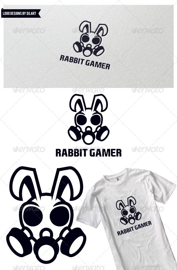 Rabbit Gamer Logo Design Template Vector logotype