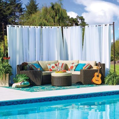 Our Freestanding Outdoor Curtain Rod With Posts Set Allows