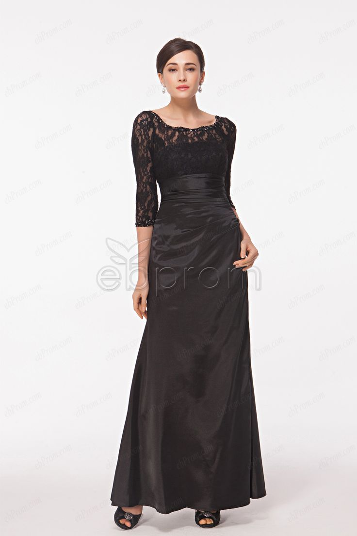 Awesome evening dresses plus size modest fitted a line black lace