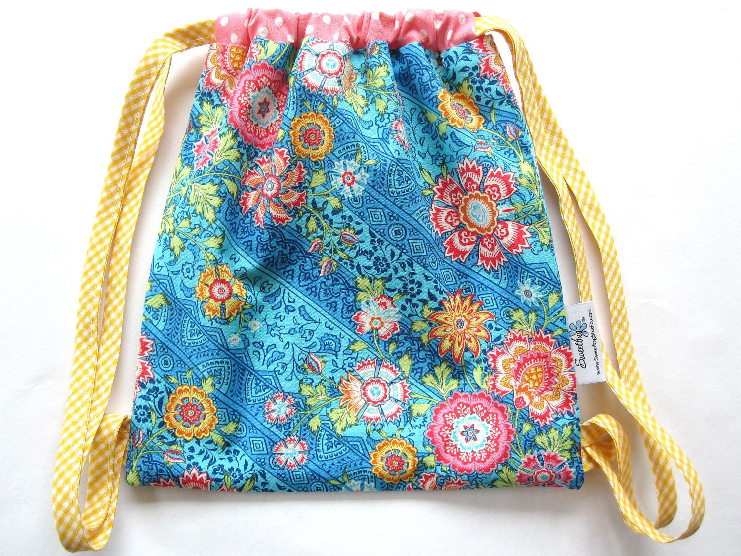 Drawstring Backpack - Bright Blue Floral & Yellow Gingham