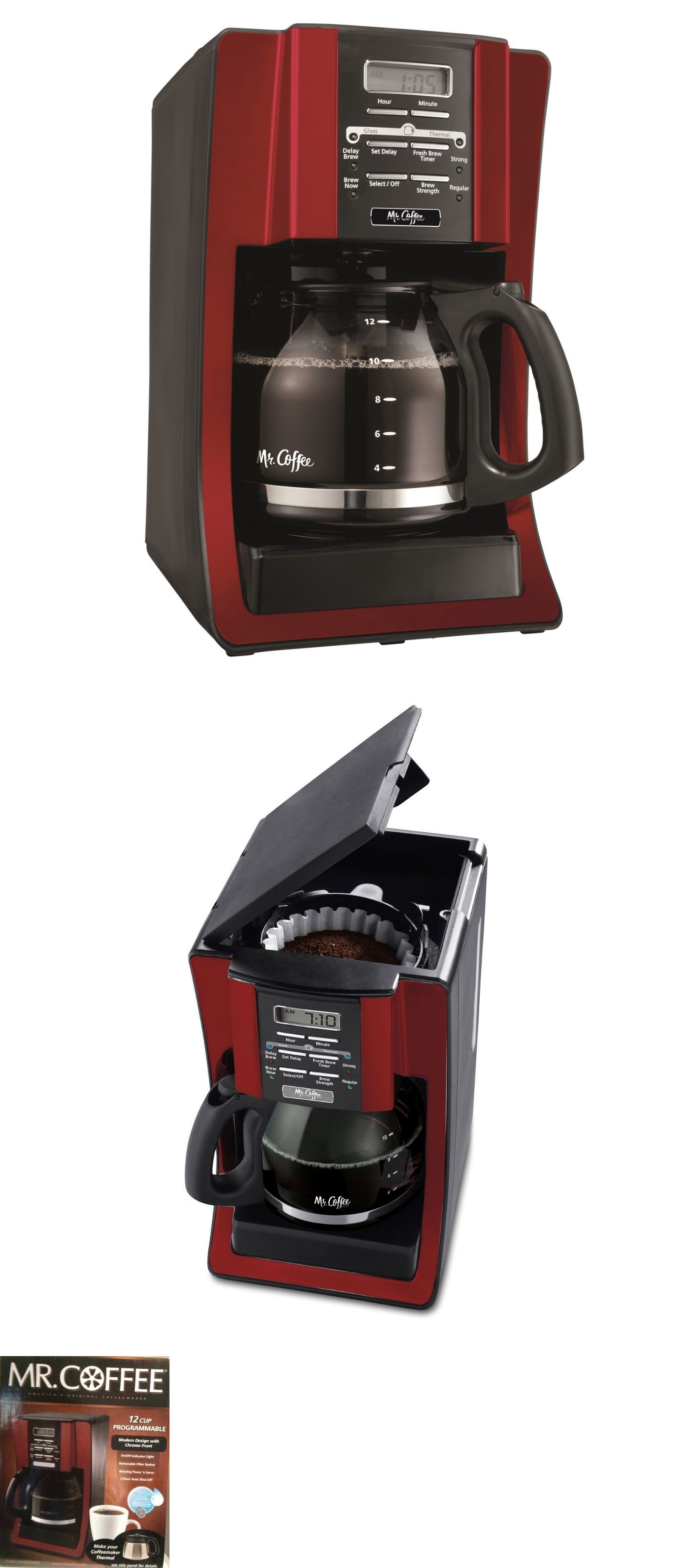 Mr coffee programmable cups coffee maker red free sh