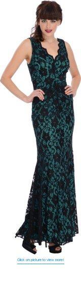 PacificPlex Women's Sleeveless Lace Overlay Mermaid Dress