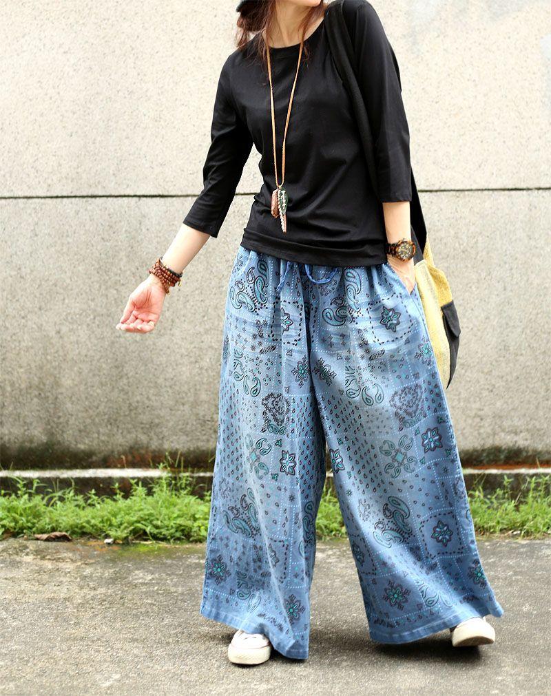 3e6f0774c5 Folk Prints Wide Leg Pants Comfortable Senior Women Jeans in 2019 ...