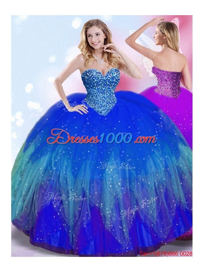 2aab39ff331 Perfect Big Puffy Royal Blue Quinceanera Dress with Beaded Bodice ...