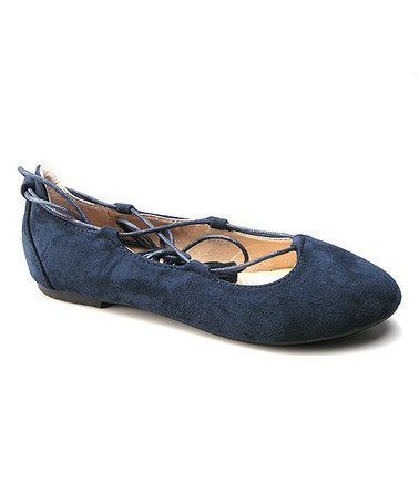 Another great find on #zulily! Navy Abela Lace-Up Ballet Flat #zulilyfinds