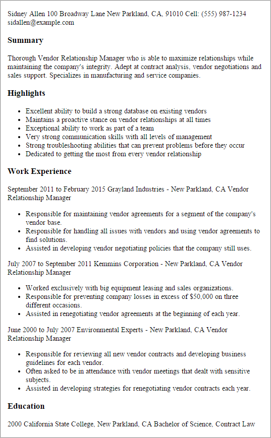 Resume Templates Vendor Relationship Manager Relationship Management Resume Examples Job Resume Examples