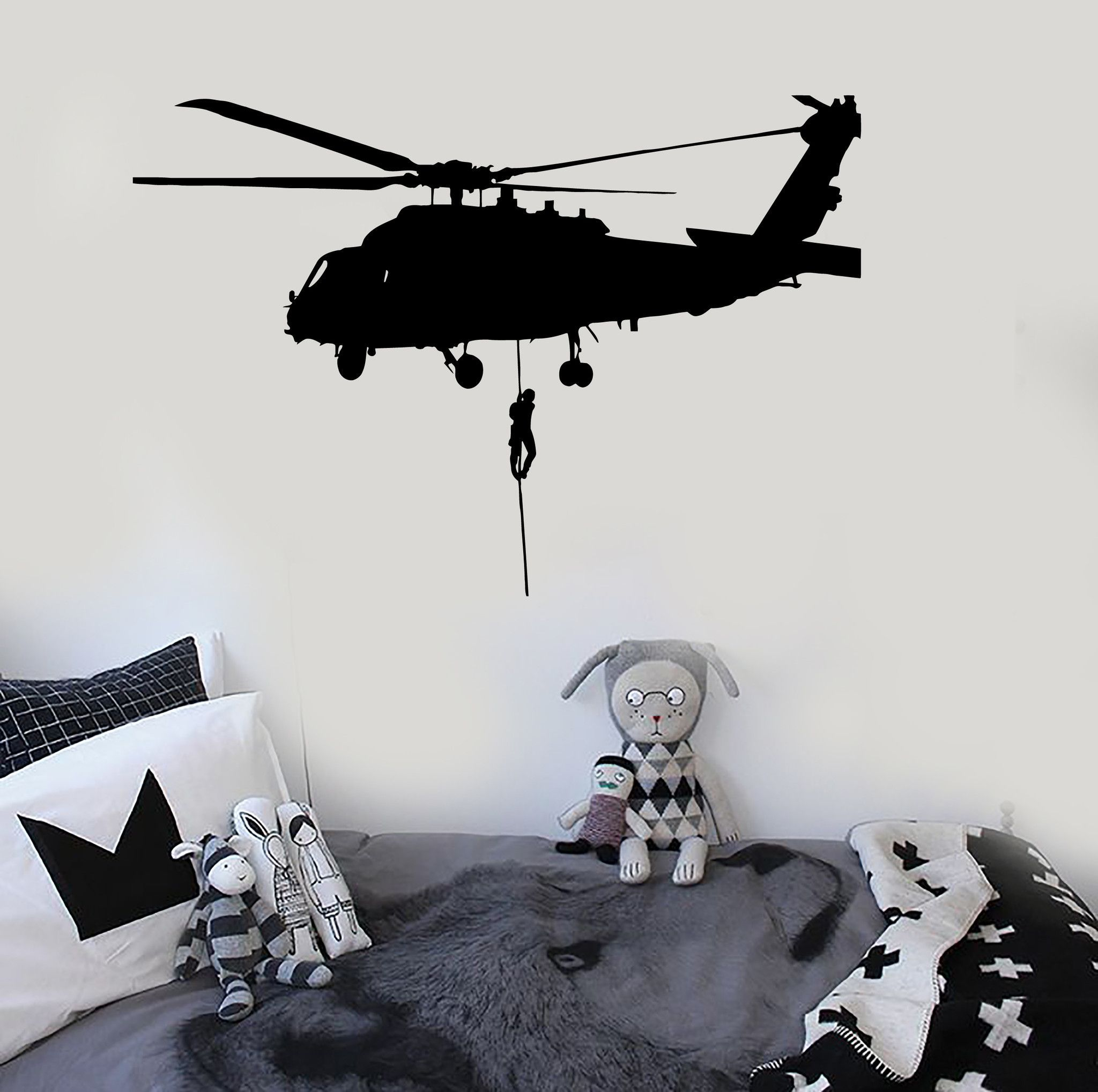Vinyl Wall Decal Helicopter Air Force Military Art