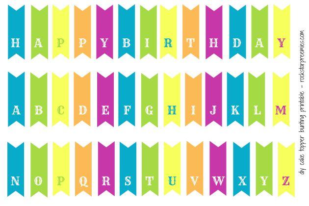 Alphabetbunting Diy Bunting Printable Alphabet Free Printables Happy Birthday Cake Topper