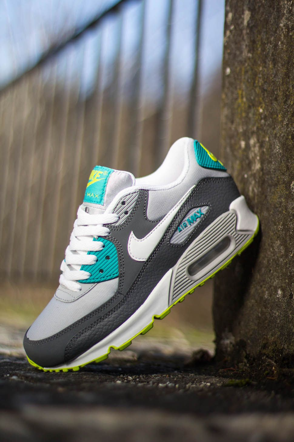 Nike Air Max 90 Green Metallic Yellow Grey White