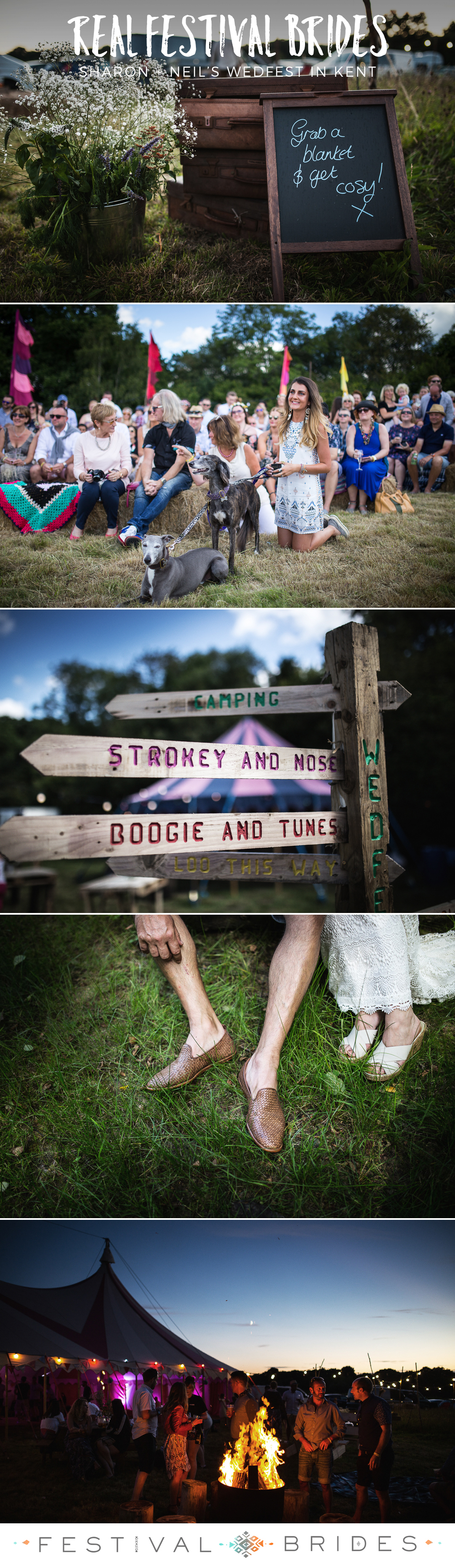 FESTIVAL BRIDES | Sharon + Neil's Wedfest Extravaganza in a Field in Kent | #outdoorwedding #festivalwedding #bohobride