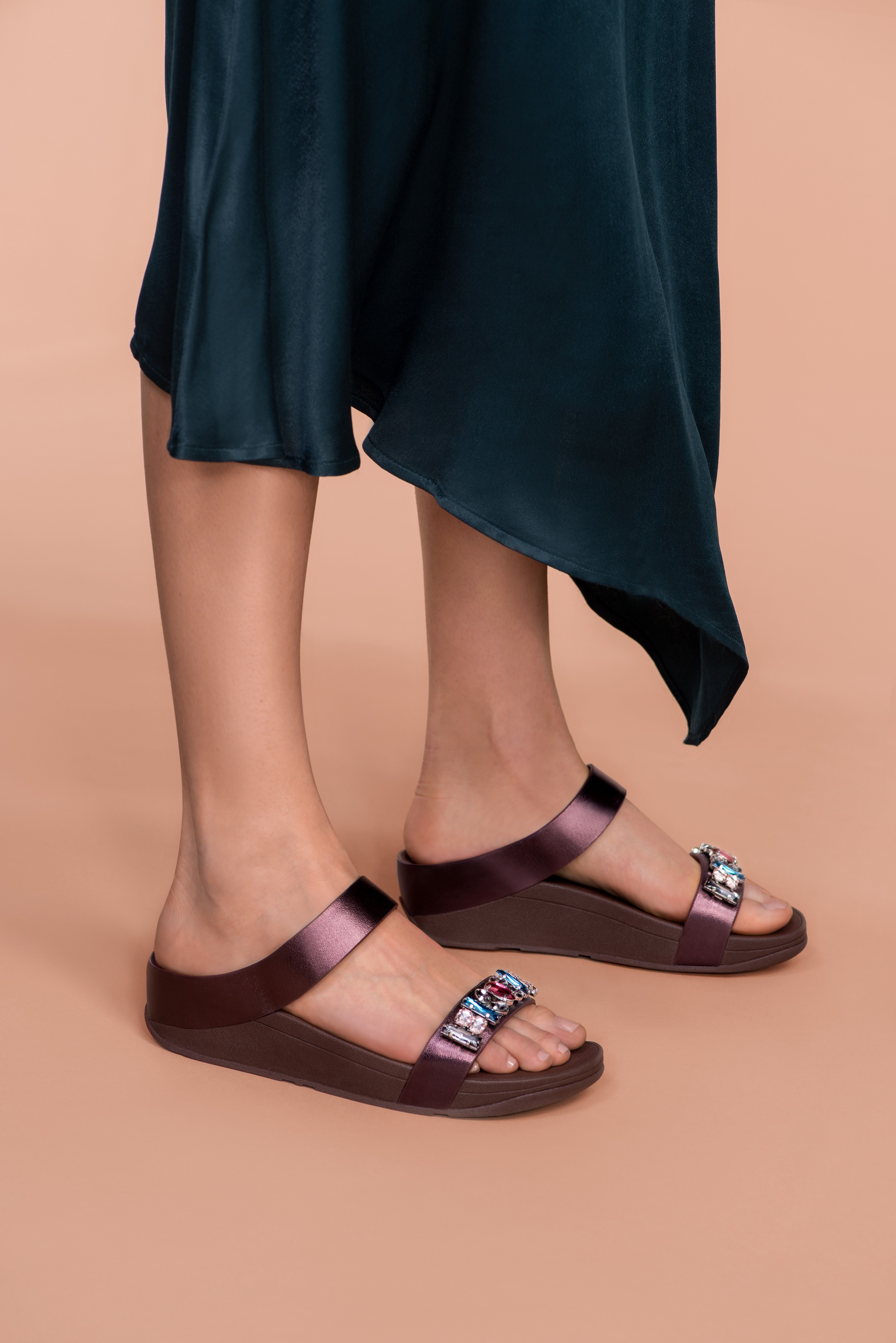 07c5e0c6d AW18 Collection | FINO Galaxy Jewel Leather Slides Back Strap, Winter  Collection, Strap Sandals