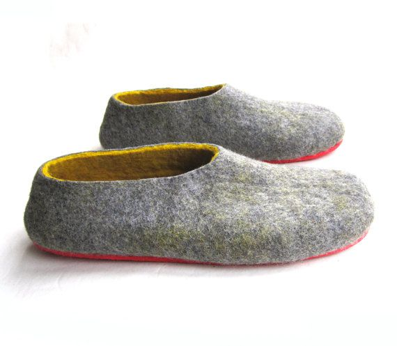 mens bedroom shoes. Slippers Men Wool Shoes gray yellow House men  Felt Modern family Clog boots Slipper Boots Summer Colorful for Him
