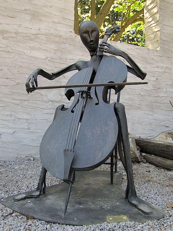 Music Instrument Cello Player Musician 3D Hand Sculpted Metal Art Figurine Decor