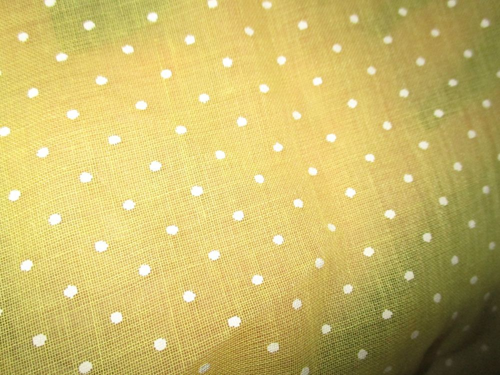 Vintage Sheer Dotted Fabric Yellow White Dot 48 X 3 Yds Polka