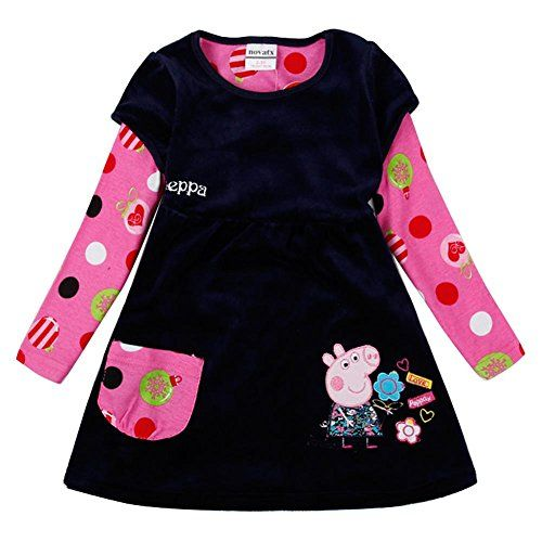 [IGO.]Peppa Pig cartoon little girls skirt autumn cotton Long sleeve dress C1-NK013_4Y-5Y. Size:18m/24m(Height:92cm) Size:2/3y(Height:98cm) Size:3/4y(Height:104cm) Size:4/5y(Height:110cm) Size:5/6y(Height:116cm). Girls Long-sleeved dress,Suit little from 1-6years old. Soft cotton. Made in China. Machine washable.
