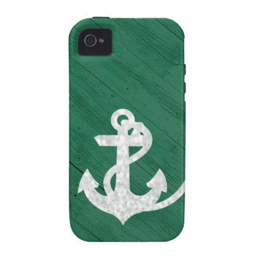 White Anchor And Vintage Green Wood Texture iPhone 4 Covers