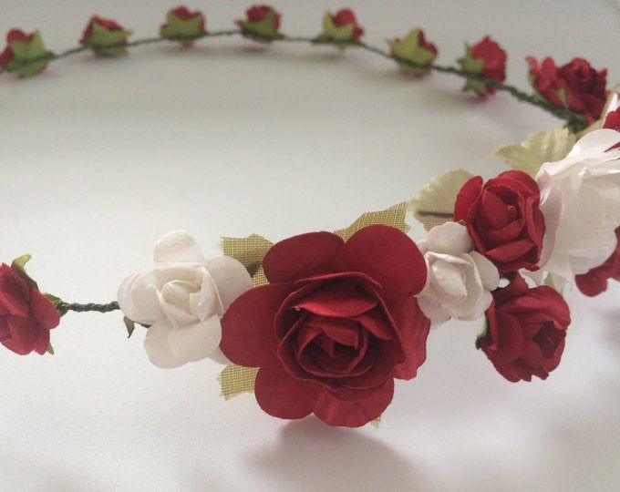 Red Black Rose Flower Crown Headband (Mexican Headpiece Goth Gothic Party Music Festival Boho Gypsy #crownheadband