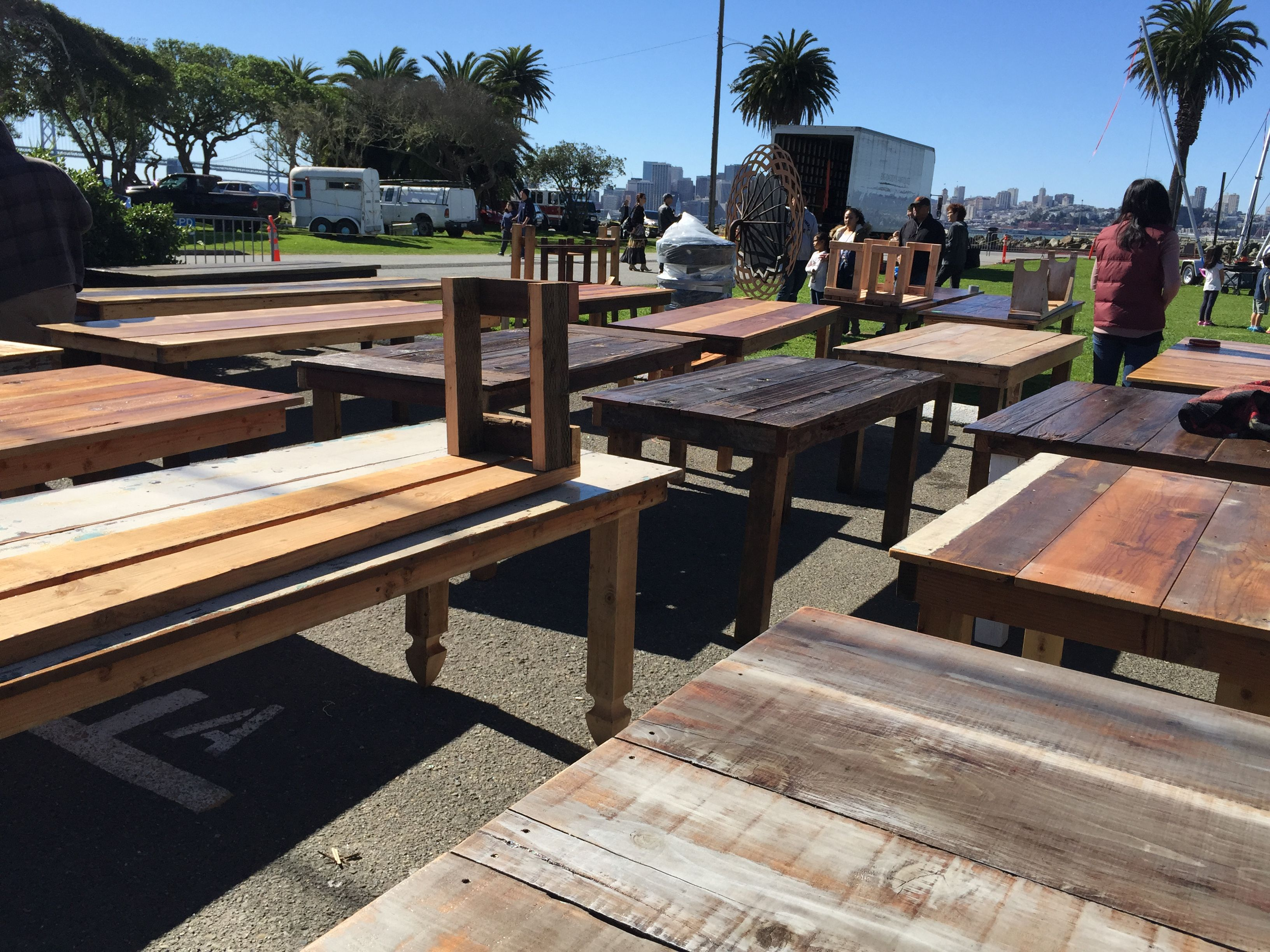 Assortment Of Tables Made From Reclaimed Wood  All Shapes And Sizes  From  Vinceu0027s Wood Work Today At The Treasure Island Flea In San Francisco.