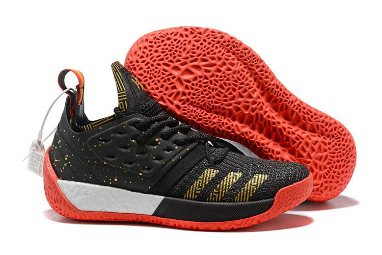 2018 adidas Harden Vol. 2 Black Gold White Red Basketball Shoes 685103c8c0e6