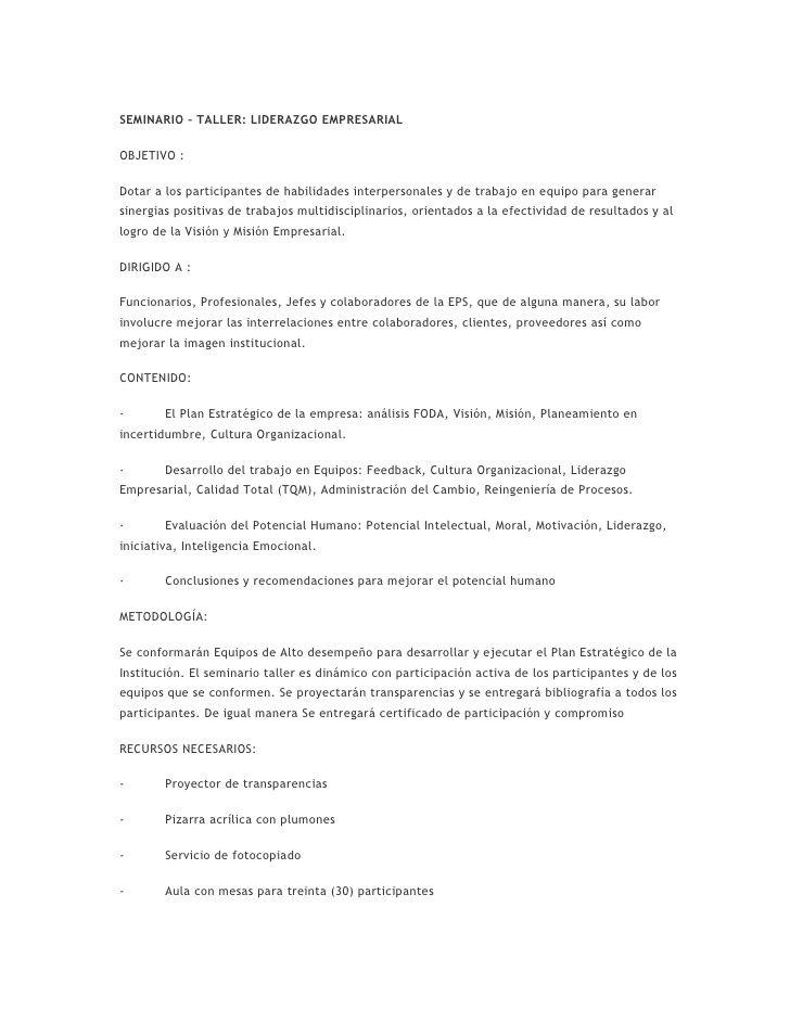SEMINARIO – TALLER: LIDERAZGO EMPRESARIAL OBJETIVO : Dotar a los ...