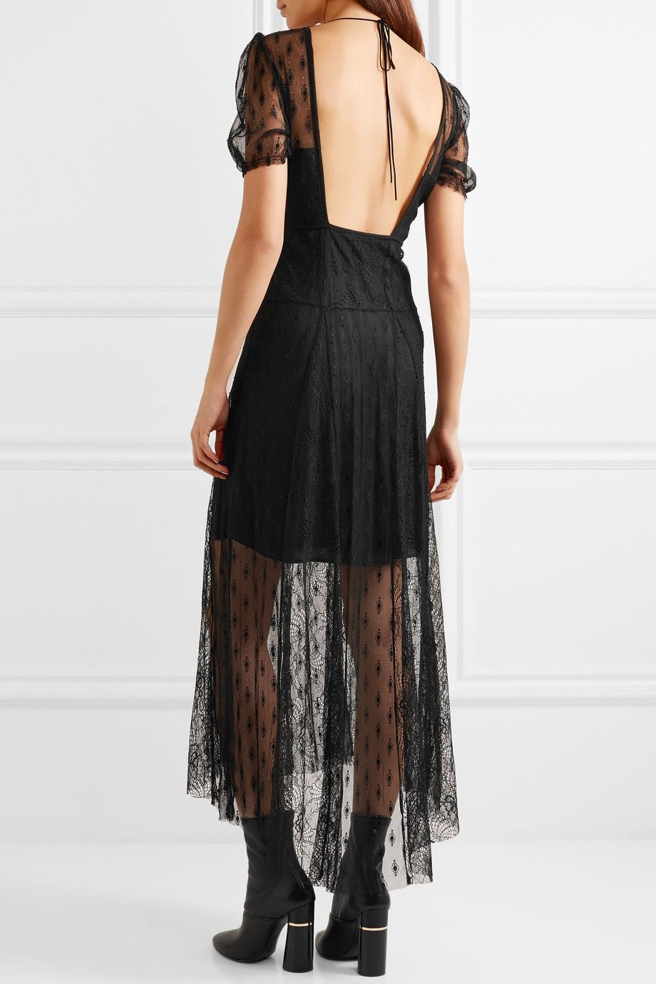 Open-back Embroidered Lace Midi Dress - Black Maje M4wHqy6O
