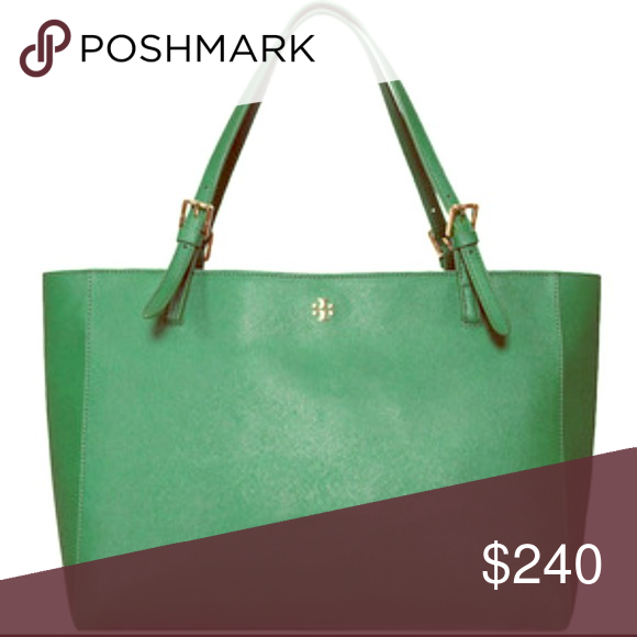 Tory Burch large York tote in Emerald Green Tory Burch large York tote in Emerald green w/ gold hardware ***this color is rare & sold out*** stunning & perfect for work (has a laptop zip compartment in he center of the bag). It's in pristine condition inside and out, only issue is a few strings on the stitching for some handles is loosening  (not impacting the actual strap/carrying the bag) which is reflected in the discounted price.  No smells, stains etctrades Tory Burch Bags Totes