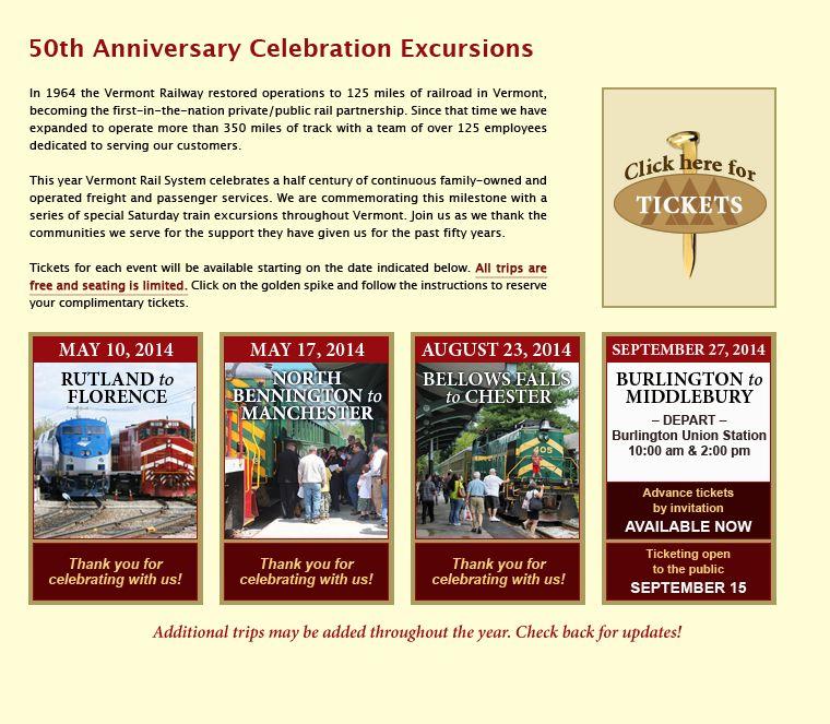 Vermont Rail System - Anniversary
