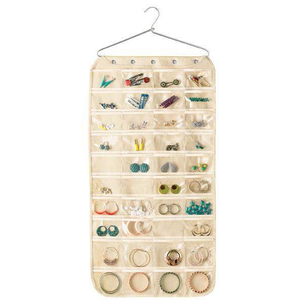 80Pocket Canvas Hanging Jewelry Organizer Hanging jewelry