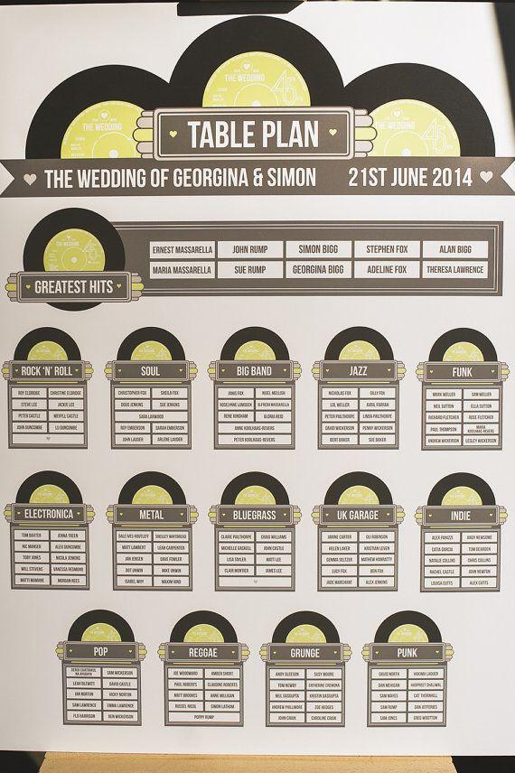 Wedding Table Plan Printed Vintage Vinyl Record Design