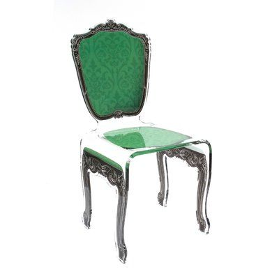 Everly Quinn Marley Acrylic Dining Side Chair Fabric: Green