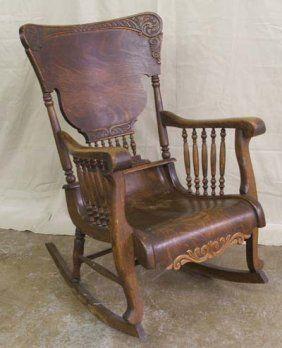5204 antique tiger oak rocking chair lot 5204 chaises bercente pinterest chaises. Black Bedroom Furniture Sets. Home Design Ideas