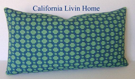 "F SCHUMACHER BETWIXT Lumbar Pillow Cover / Seaglass / 12"" x 20"" / Hidden Zipper Closure / Designer Fabric / Decorative Pillow. $41.00, via Etsy."