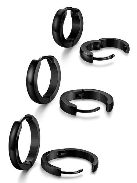 41e9af8d0 Jstyle Stainless Steel Mens Womens Hoop Earrings Huggie Ear Piercings  Hypoallergenic 16mm