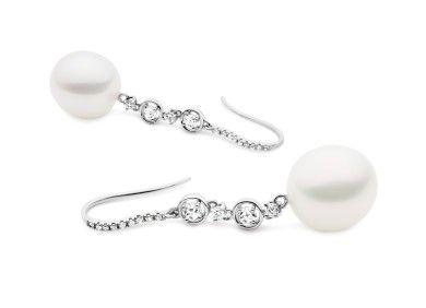 Pearl and rose cut diamond earrings by Simson Bespoke