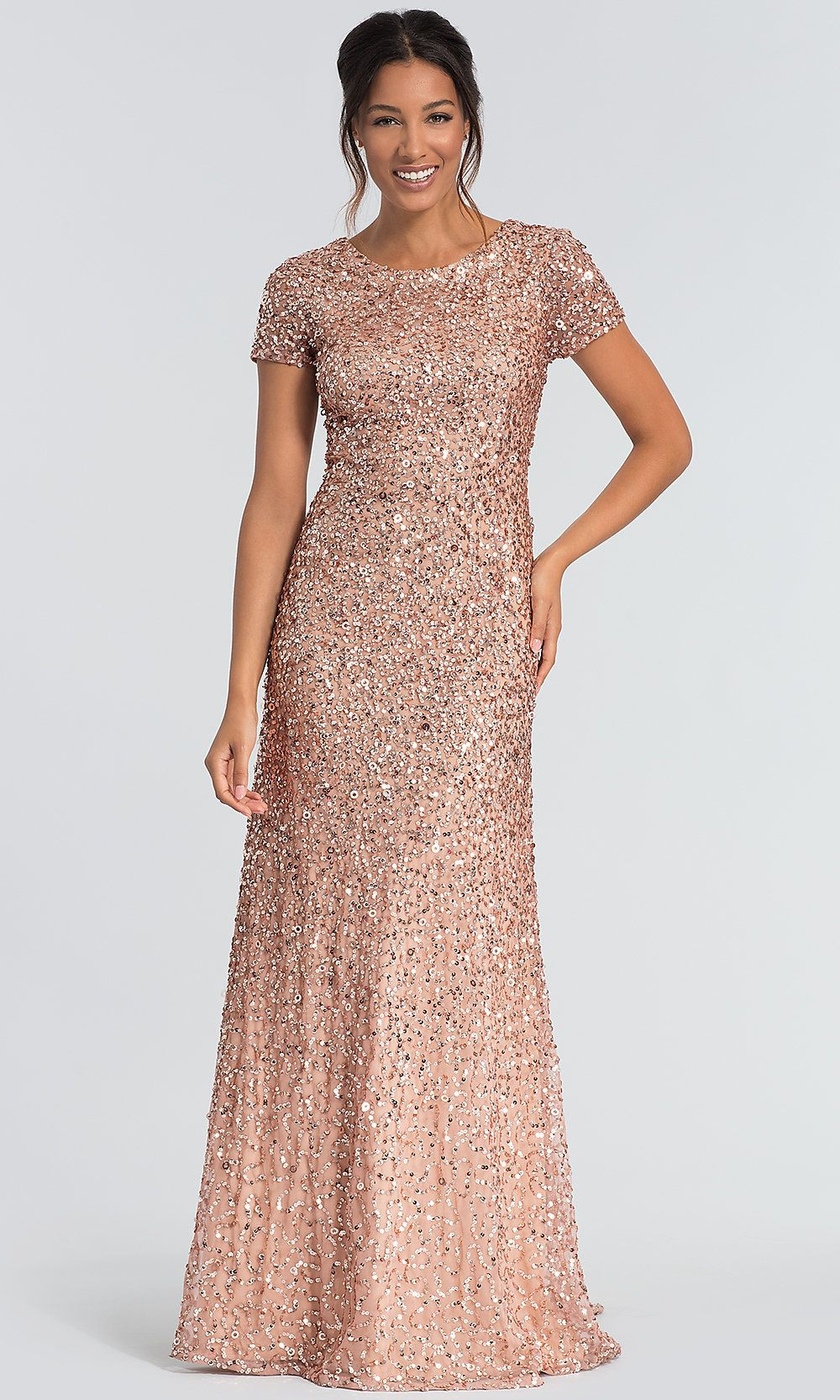 Short Sleeve Sequin Mob Dress By Adrianna Papell Mob Dresses Mother Of The Bride Dresses Long Bridesmaid Dresses With Sleeves