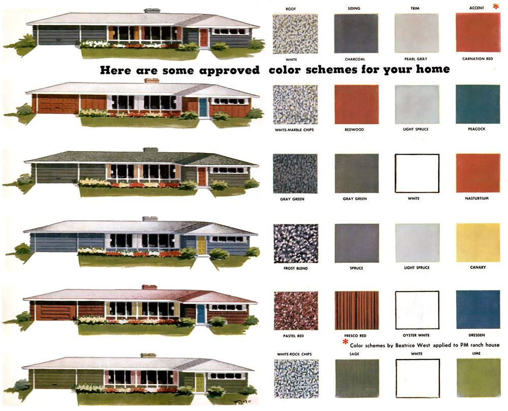 Exterior house colors combinations - House Color Combos For Mid Century Ranch Homes The One On Top Is